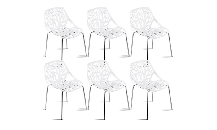 Surprising Set Of 6 Birch Sapling Plastic Dining Side Chairs Stackable Uwap Interior Chair Design Uwaporg