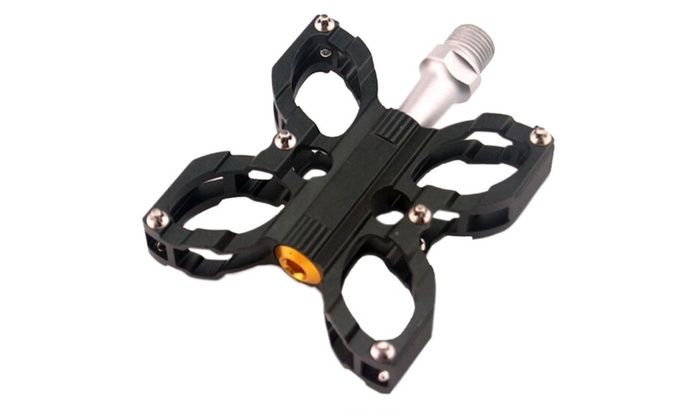 1 Pair Butterfly Design Mountain Bike Folding Bicycle Cycling Pedals - black