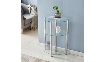 3-layers Tempered Glass End Table Stainless Steel Tube Semicircular Side Table
