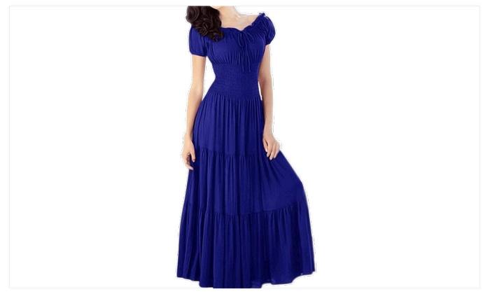 Women Pleated Fit Waist Halter Long Dress Blue