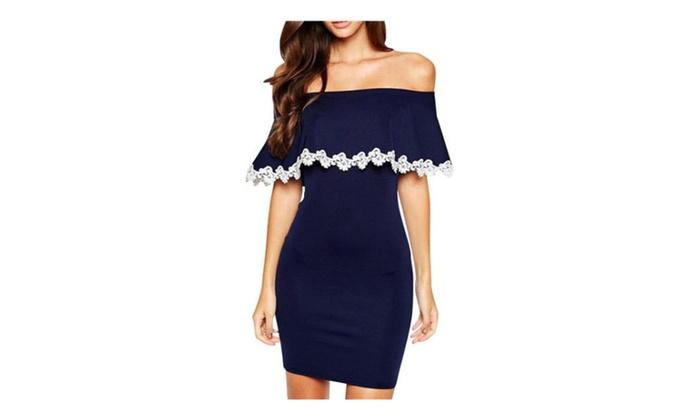 Women's Off Shoulder Lace Dress For Women – Blue / one size