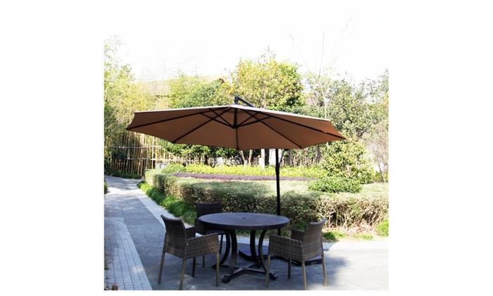 New 10Ft Outdoor Patio Cantilever Umbrella Freestanding Garden Tan ...