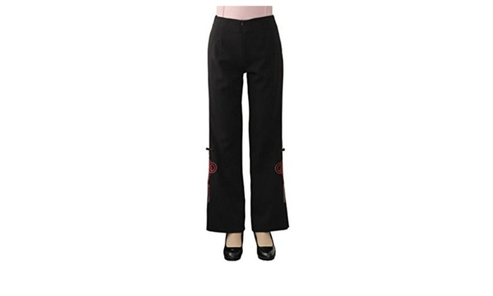 JTC Women's Long Causal Pants Chinese Knot Print Black