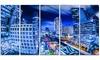 Bangkok City Night View Cityscape Photo Metal Wall Art 60x28 5 Panels