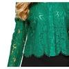 Women's Buttons Up Cutwork Straight Hem Stylish Blouse