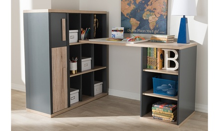 Pandora Dark Grey and Light Brown Study Desk with Built-in Shelving Unit