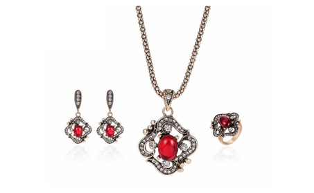 Zircon Retro Necklace Earrings Ring Jewelry Set for Women 7f767207-efa0-42a5-80d0-b5c0429818b3