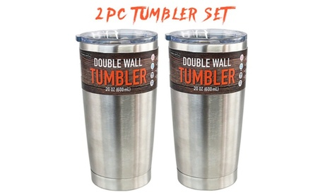 Set of 2 20 Oz Double Wall Vacuum Insulated Stainless Steel Tumbler With Lid fd5e863a-a1e9-4bf0-aed3-5a567a6b14e1
