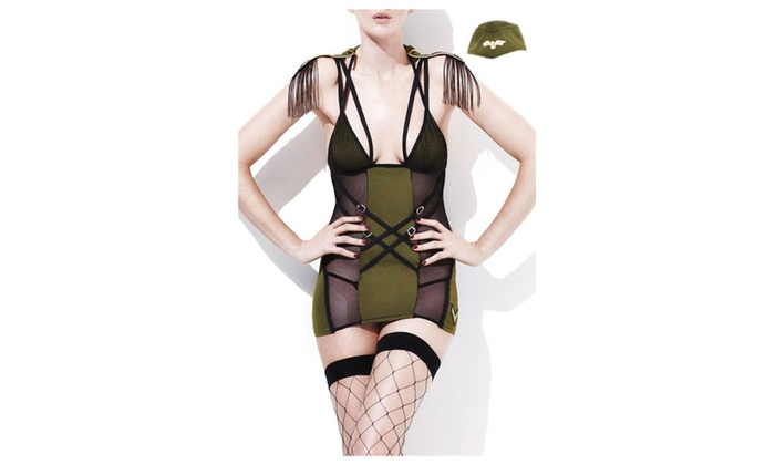 Women's 3pcs Fever Army Major Costume – one size