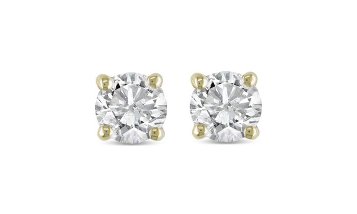 Groupon Goods 50ct Round Natural Diamond Studs Earrings In 14k Yellow Gold Basket Setting
