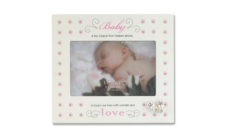Cream And Pink Polka Dot 4x6 Picture Frame - Baby And Shoes Design b7ff58fb-5b18-4157-b278-c3bc5e7c7052