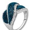 1/10 CTTW Blue and white diamond Ring in Brass - KK13FB0012-R
