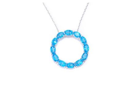 Sterling Silver 6.00ct Blue Topaz Circle Pendant Necklace 37e75c74-1dd0-4856-892b-725da68e6d0f