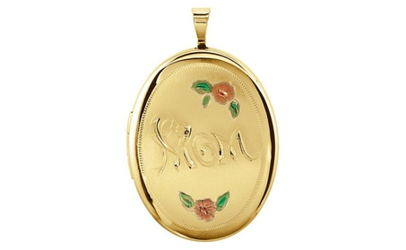 14K Yellow Gold-Plated Sterling Silver Oval Mom Locket with Color 7301199a-4456-4172-8db1-40a644e88561