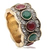 Double Color Crystal Antique Turkish Gold Plate Women's Ring