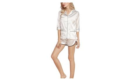 4Ping Women's New Shirt Shorts Silk Sexy Pajamas Two Suit 92deac96-c2ec-43c9-909f-bcf60e8671c3