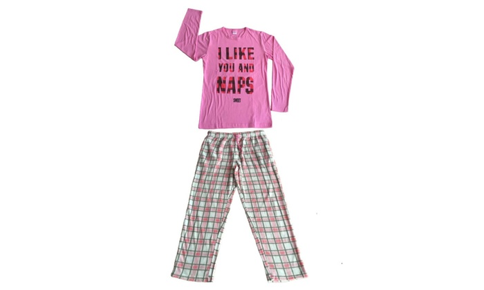 Women 2 PC Cotton Top & Fleece Lined Pants Pajamas Set (Pink)