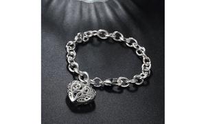 Clean Silver Filigree Heart Design Bracelet