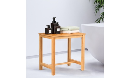 """18"""" Shower Stool Bamboo Shower Bench Bath Spa Seat with Storage Shelf Natural"""