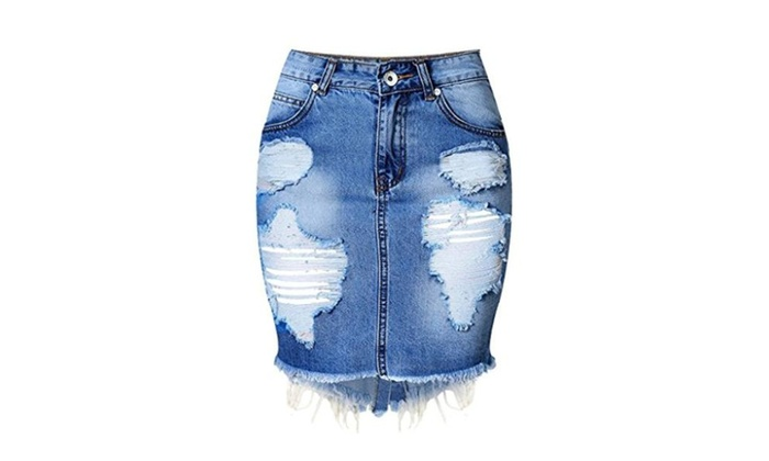 ColorFino High Waist Washed Ripped Hole Jeans Skirts Denim Skirts