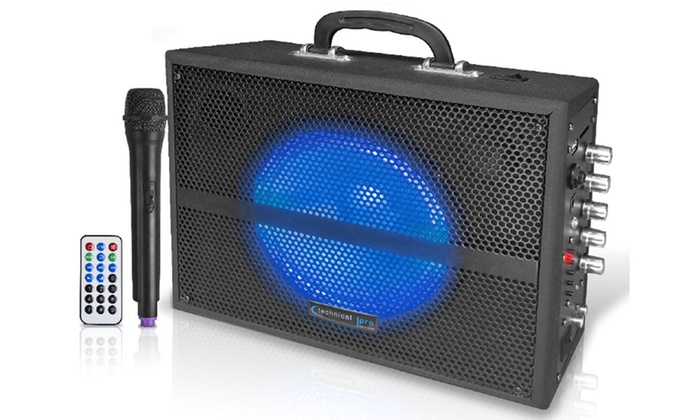 """Groupon Goods: 6.5"""" Rechargeable Bluetooth PA System w/ Wireless VHF Mic"""