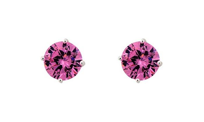 59f9d7851da46 Sterling Silver 8mm Pink Cubic Zirconia Stud Earrings