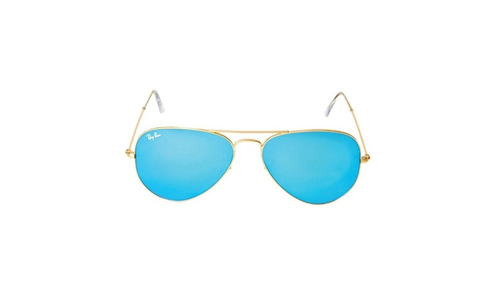 a70039e2f Ray-Ban RB3025 Aviator Sunglasses Matte Gold /Blue Mirror | Groupon