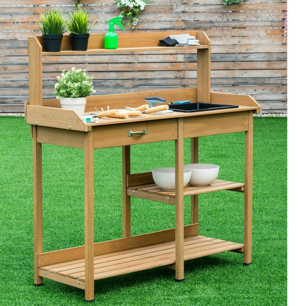 Superb Costway Potting Table Bench Garden Planting Wood Shelves Outdoor Work Station Ocoug Best Dining Table And Chair Ideas Images Ocougorg