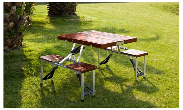 Wooden Garden Portable Suitcase Folding Picnic Table Set w/4 Chairs & Wooden Garden Portable Suitcase Folding Picnic Table Set w/4 Chairs ...