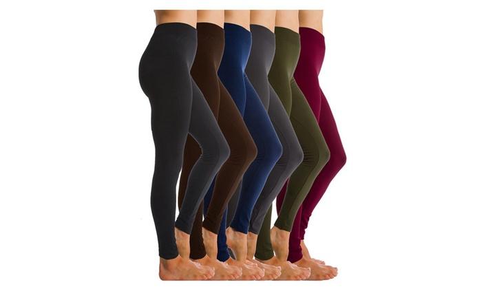BASIK Women's Fleece Lined Leggings (6-Pack)