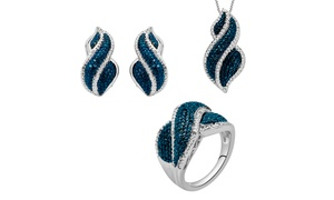 14K Gold Plated 1/4 Cttw Blue & White Diamond 3 piece Set-KK13FB0012