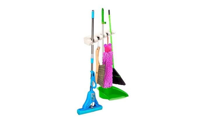 Mop Holder Hanger Home Kitchen Storage Broom Organizer 5 Position