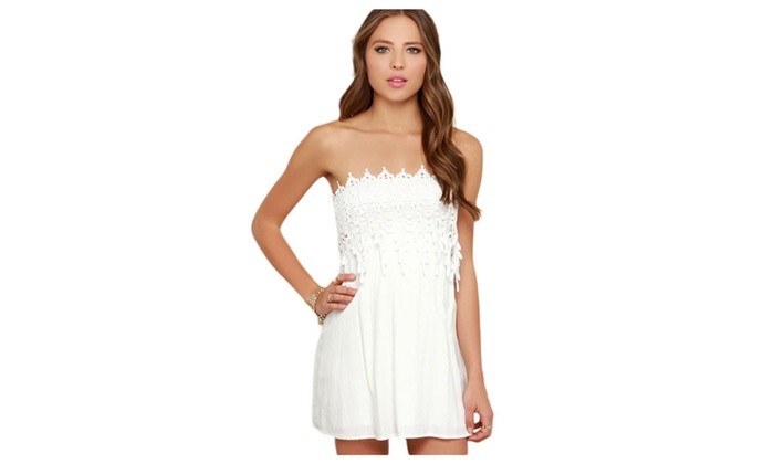 Women's White Strapless Lace Skater Dress – White / one size