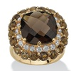 4.50 TCW Genuine Smoky Quartz 18k Gold over Sterling Silver Ring