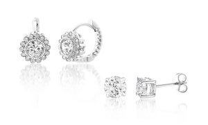 Lesa Michele Cubic Zirconia Huggie & Stud Earring 2-Pair Earring Set in Silver