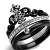 Black Ion Plated Stainless Steel Cubic Zirconia Crown Wedding Ring Set