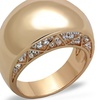Women's Stainless Steel Rose Gold Plated .3Ct Crystal Dome Fashion Ring