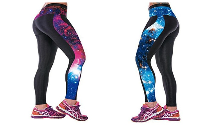 Active Work Out High Waisted Cross Fit Sport Leggings Galaxy