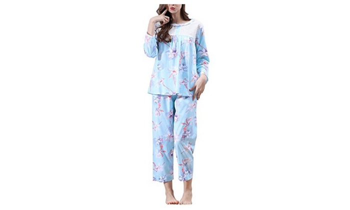 Womens Cotton Pajamas Set Long Sleeve Sleepwear Two Piece Pjs