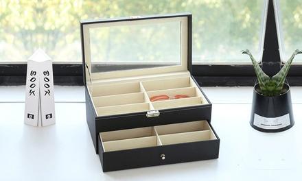 Leather 8/12 Slots Eyeglasses Sunglass Display Lockable Storage Box Case