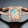 White Fire Opal & Rose Gold Halo Ring By Peermont