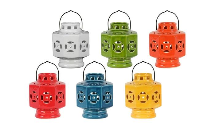 Ceramic Octagonal Tea Light Lantern with Metal Handle Assortment