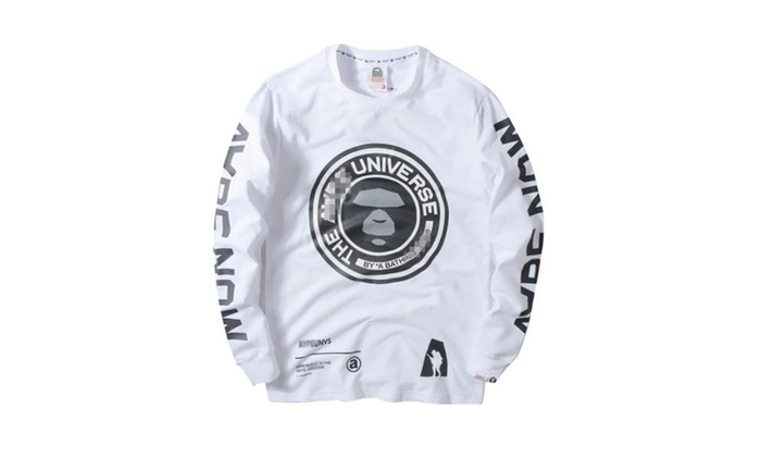 Men's Long Sleeve Loose Fit Glyph Printing Casual Sweatshirt