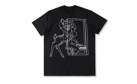 Men's Sketch Bambi Print Loose T-Shirt a59078a2-f697-46a7-b2e1-86d50af9028a