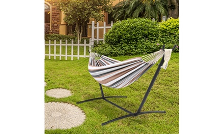 2 person Strip Cotton Swing Garden Portable Hammock Chair w/Stand 3 Color