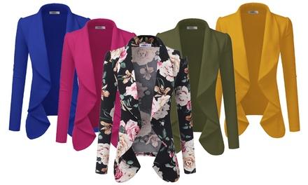 Doublju Women's Fall Draped Open Front Blazer Jacket