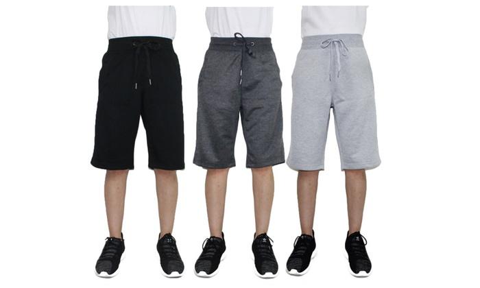 Mens French Terry Shorts Drawstring Elastic Waistband Drop Crotch Slim