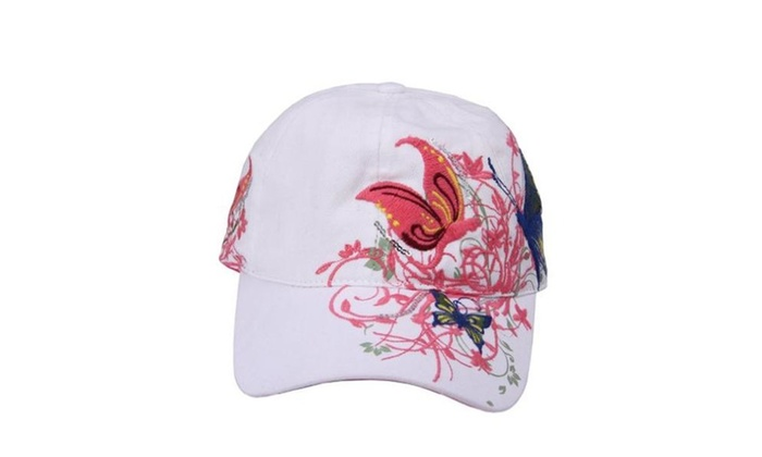 JTC Unisex Flower & Butterfly Adjustable Visor Baseball Cap White - White / One Size