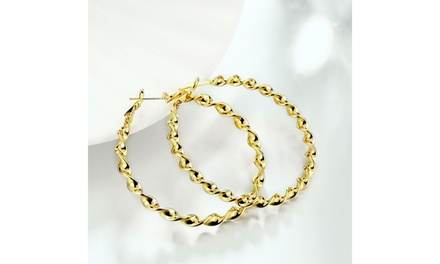 Twisted Design Hoops Earrings in 14K Gold Plating - Three Options Was: $29.99 Now: $8.99