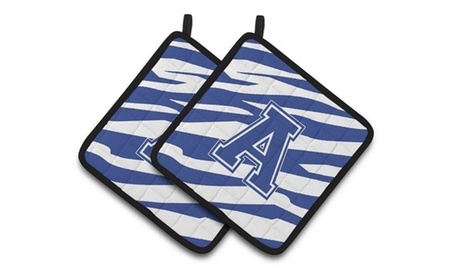 Carolines Treasures CJ1034-APTHD Letter A Monogram - Blue White Tiger Stripe Pai photo